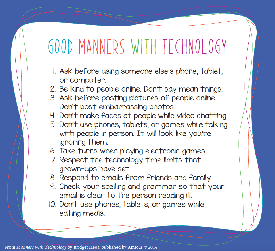 Manners with Technology Printable